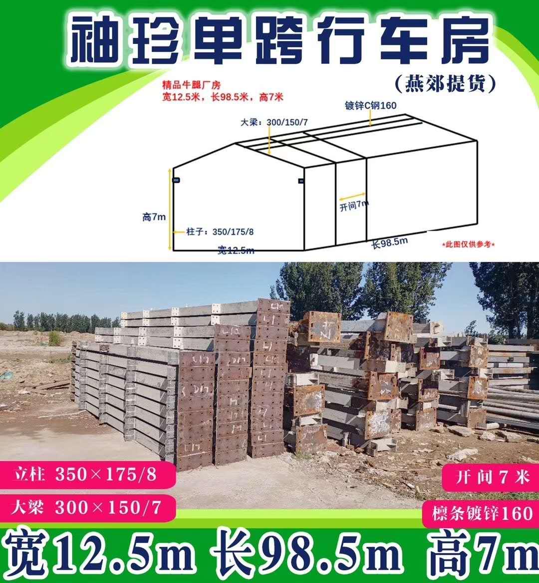 出售厂房宽12.5米,长98.5米,高7米,