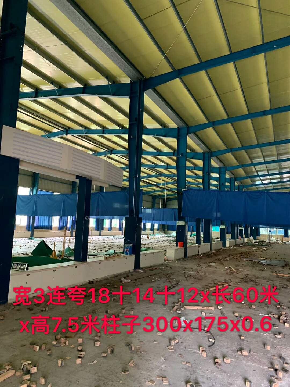 出售宽3连夸18+14+12x长60米x高7.5米柱子300x175x0.6  厂房